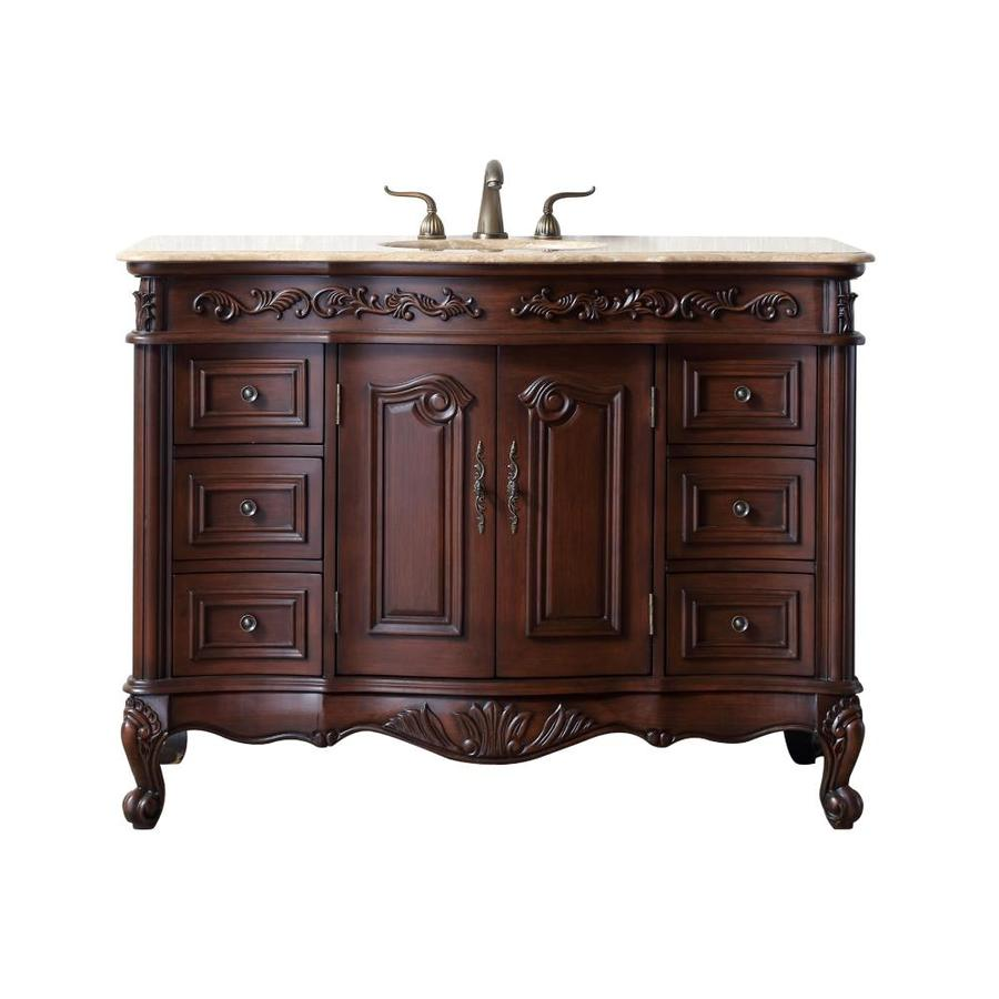 stufurhome 48-in dark cherry single sink bathroom vanity