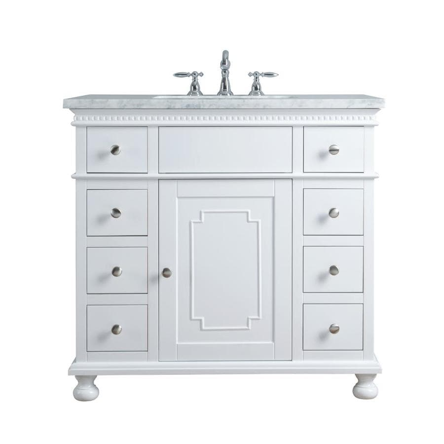 stufurhome 36-in white single sink bathroom vanity with