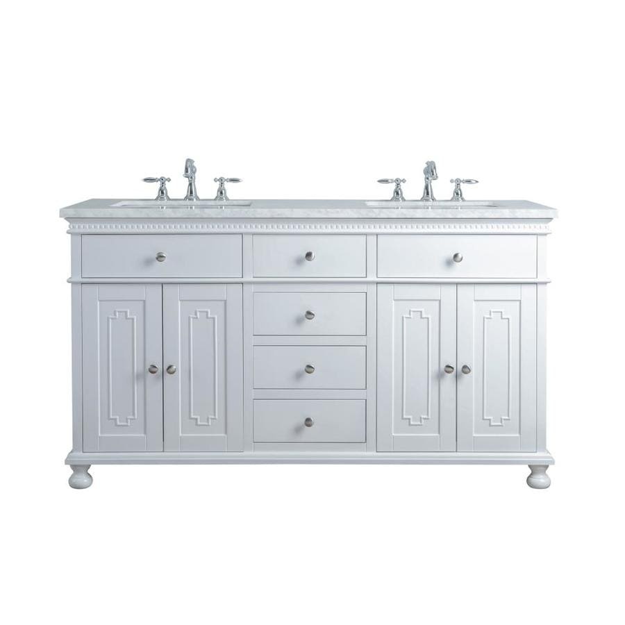 Stufurhome 60 In White Undermount Double Sink Bathroom Vanity With Carrara White Natural Marble Top In The Bathroom Vanities With Tops Department At Lowes Com