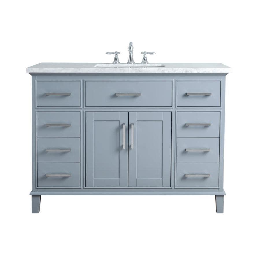 48-in Gray Single Sink Bathroom Vanity with Carrara White ...