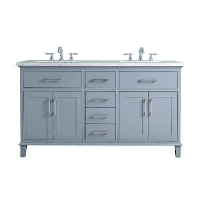 Gray Double Sink Bathroom Vanity