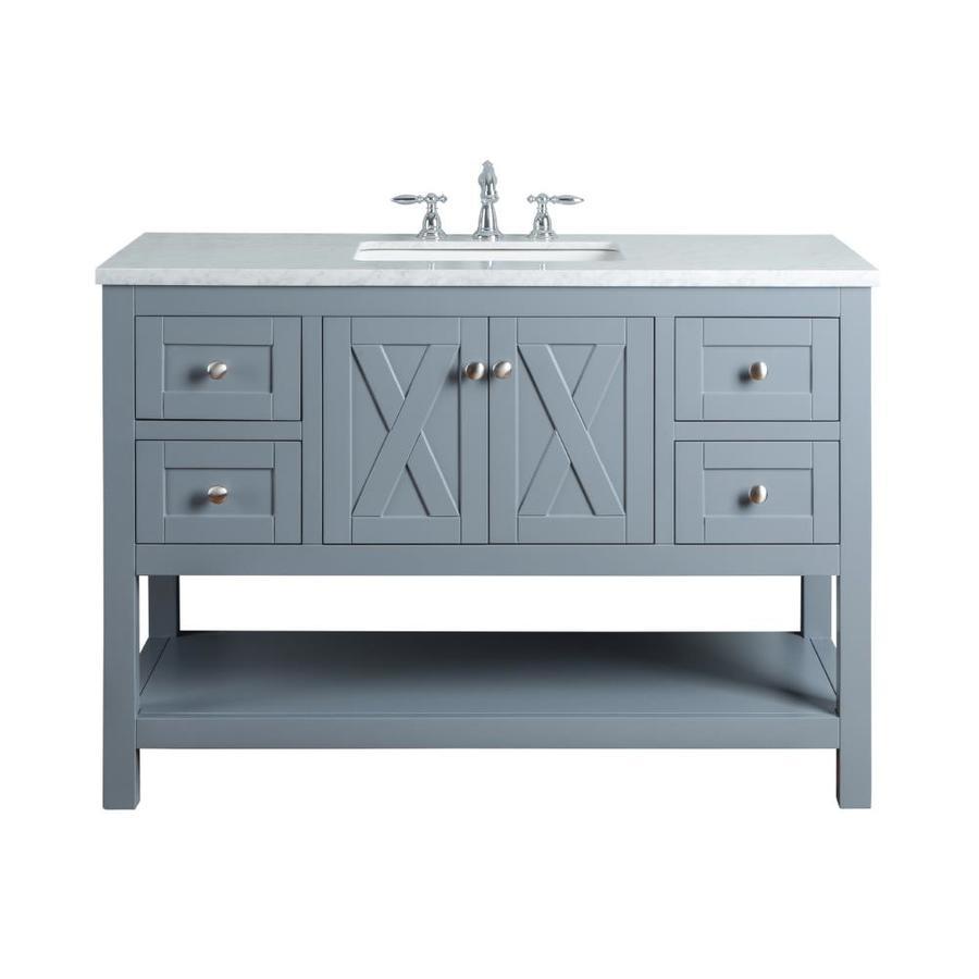 Stufurhome 48-in Gray Single Sink Bathroom Vanity with ...