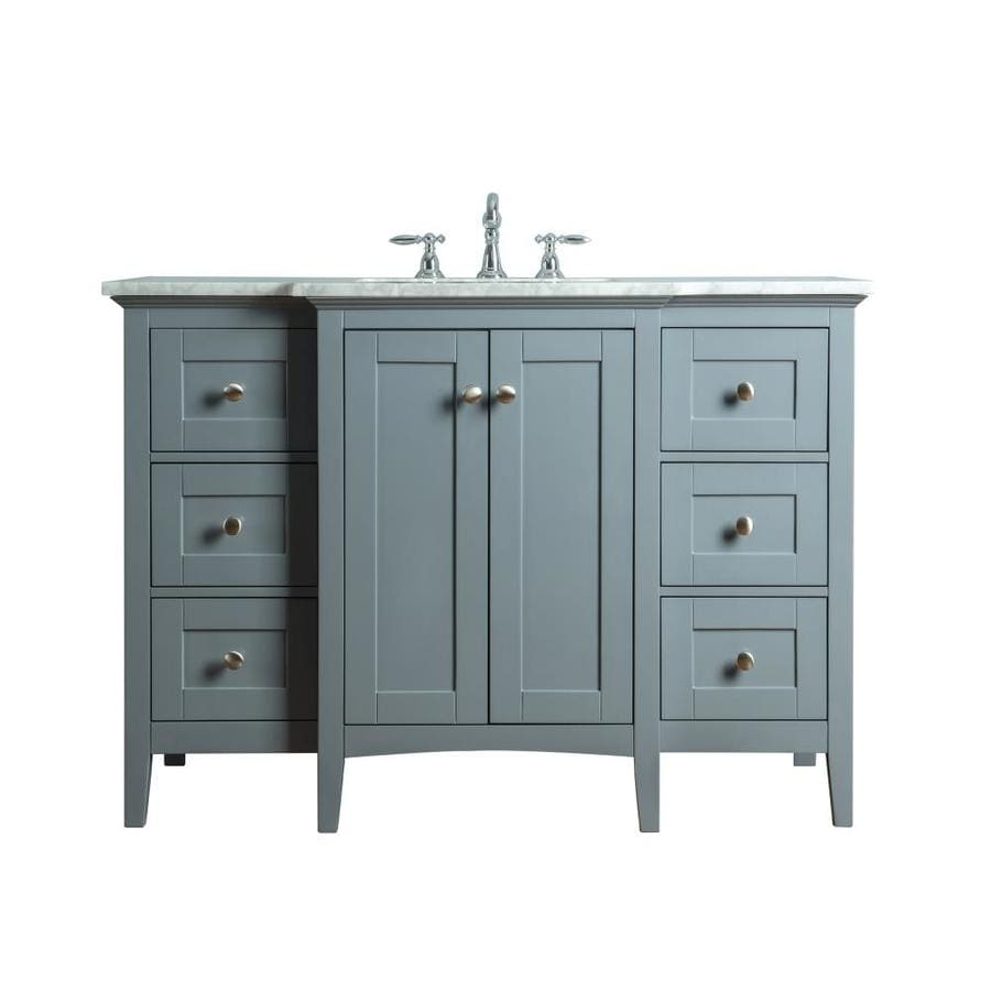 Stufurhome 48-in Gray Single Sink Bathroom Vanity with ...