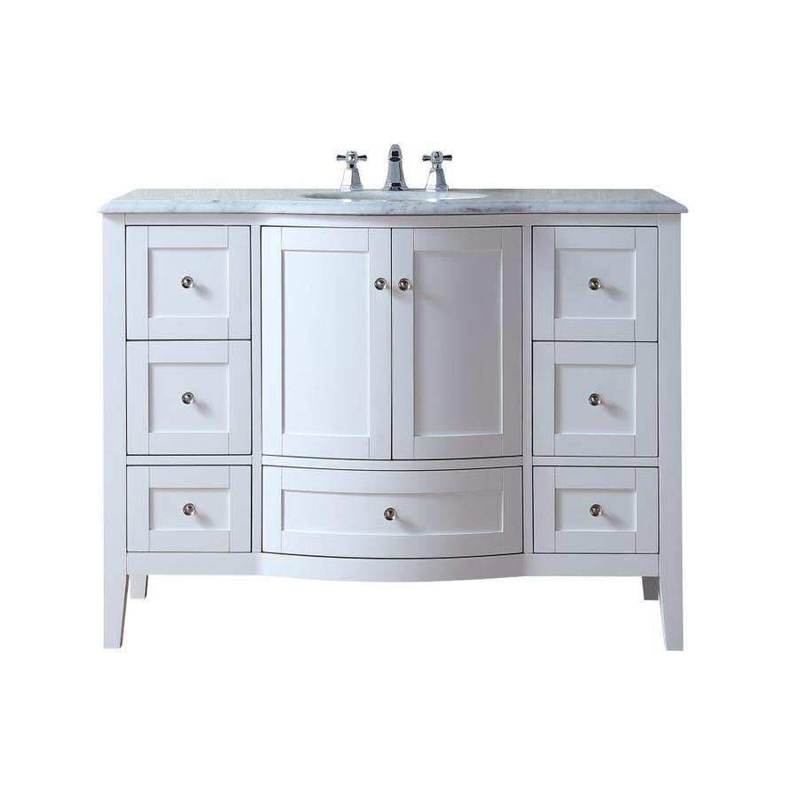 Stufurhome 48-in White Single Sink Bathroom Vanity with ...