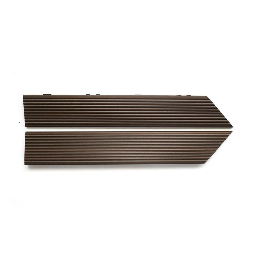 NewTechWood 1/6 ft. x 1 ft. Quick Deck Composite Deck Tile Outside Corner Trim in Spanish Walnut (2-Piece/Box)