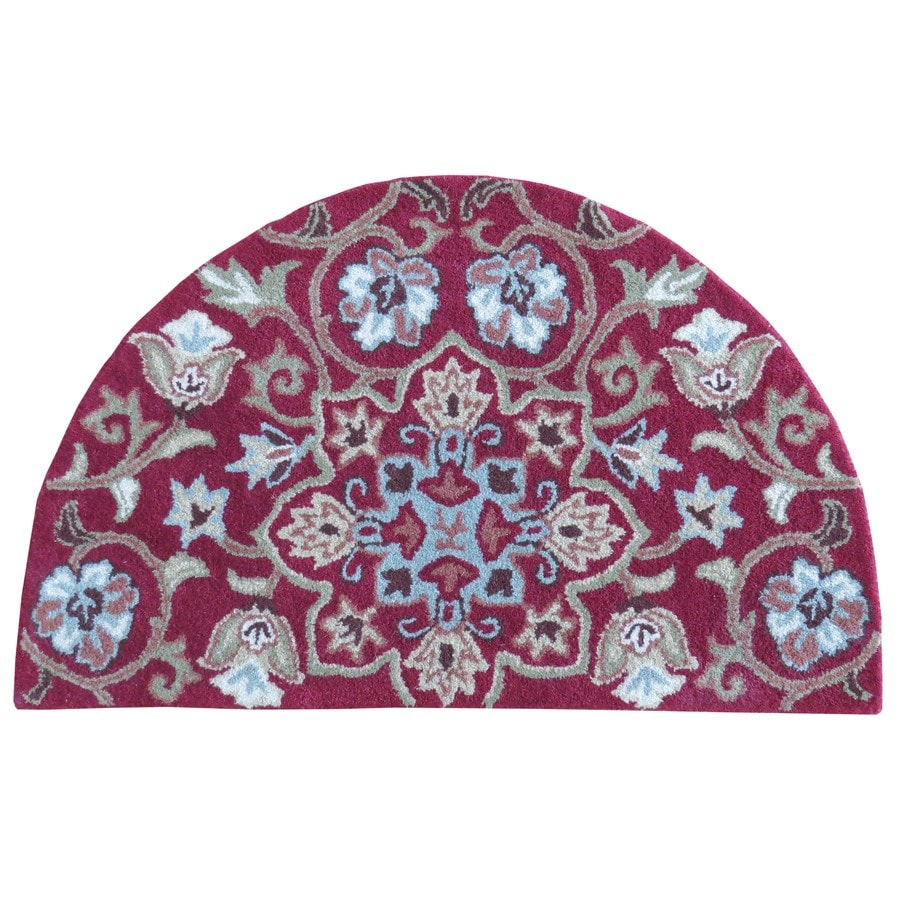 Red Semicircular Indoor Handcrafted Nature Throw Rug (Common: 2 x 3; Actual: 2-ft W x 3.33-ft L x 3.33-ft dia)