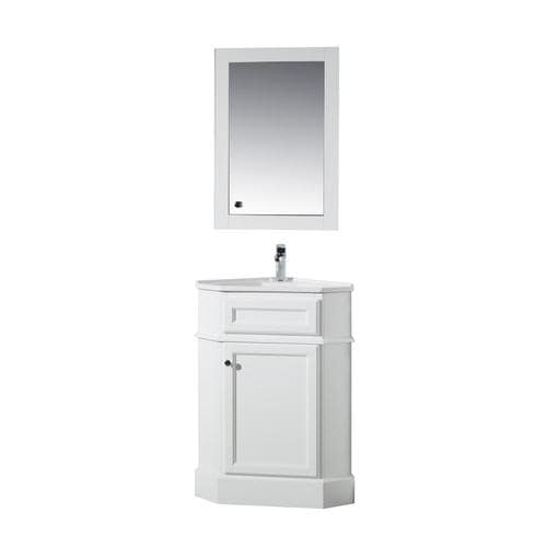 Stufurhome 17.75-in White Single Sink Bathroom Vanity with ...
