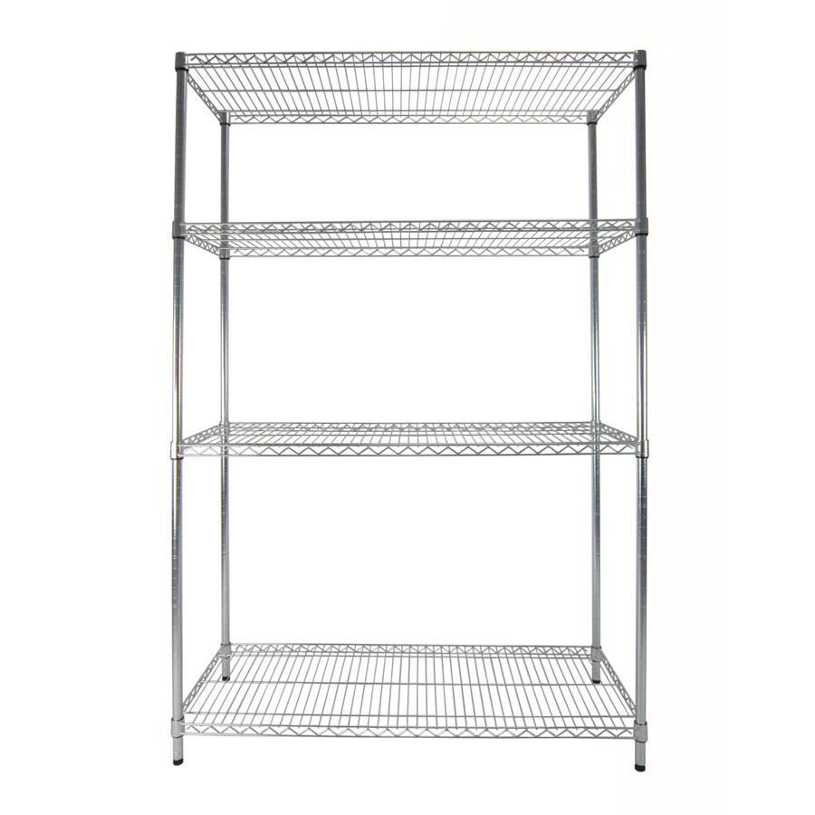 Style Selections 5-ft 11.77-in H x 3-ft 11.79-in W x 1-ft 6-in D 4-Tier Steel Freestanding Shelving Unit