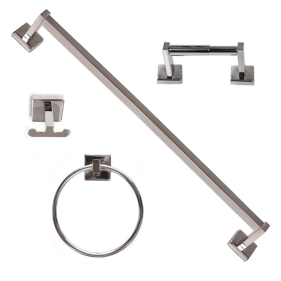 ARISTA 4-Piece Byrne Polished Stainless-Steel Decorative Bathroom Hardware Set