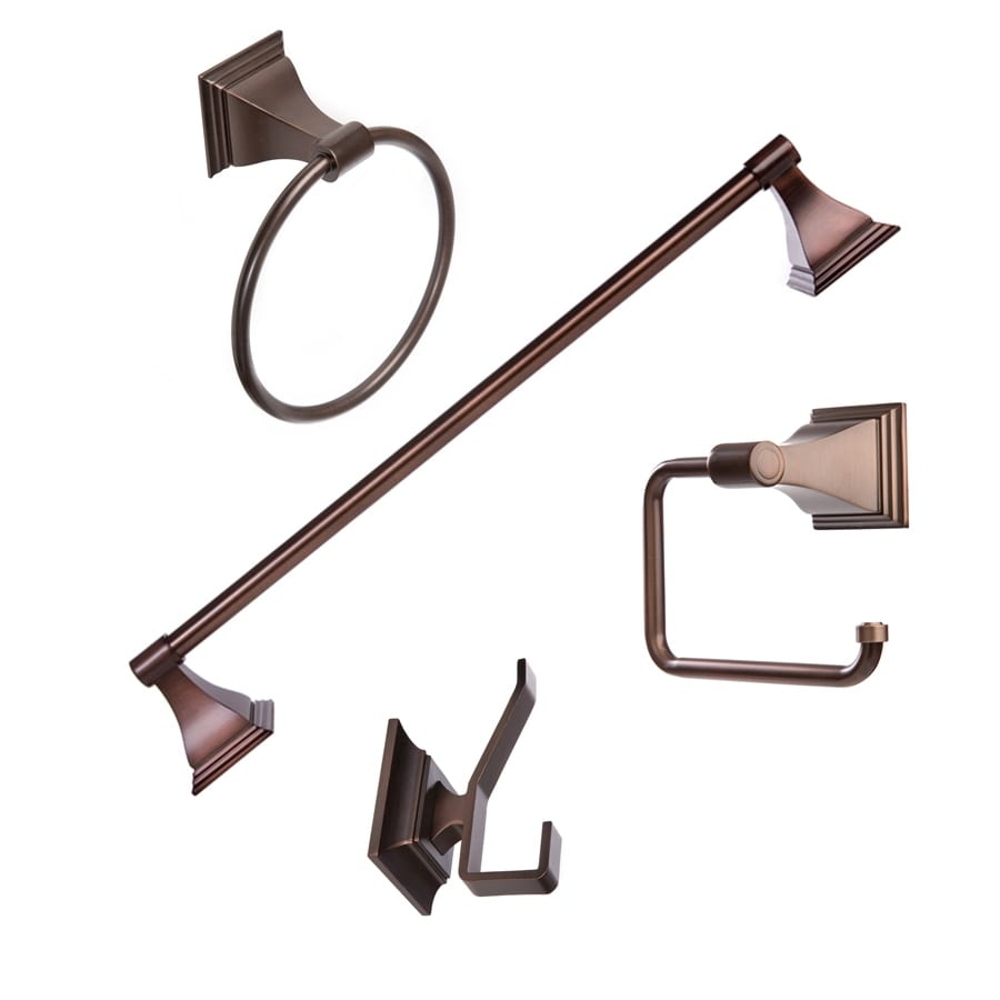 Arista 4 Piece Leonard Oil Rubbed Bronze Decorative Bathroom Hardware Set