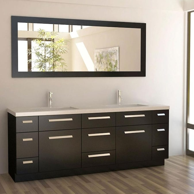 Design Element Moscony 84 In Espresso Undermount Double Sink Bathroom Vanity With White Quartz Top Mirror Included In The Bathroom Vanities With Tops Department At Lowes Com