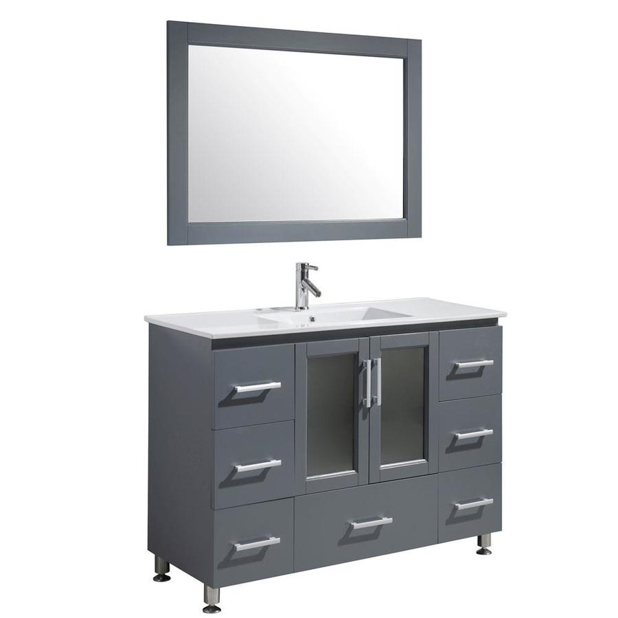 Design element stanton 48 in gray single sink bathroom - 48 in single sink bathroom vanity ...
