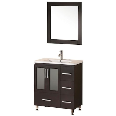 Design Element Stanton 32 In Espresso Single Sink Bathroom Vanity With White Ceramic Top Mirror Included In The Bathroom Vanities With Tops Department At Lowes Com