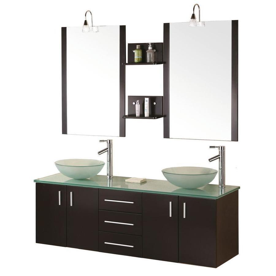 Design element portland 60 in espresso double sink - Espresso double sink bathroom vanity ...