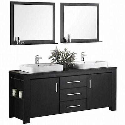 Design Element Washington 71 In Espresso Double Sink Bathroom