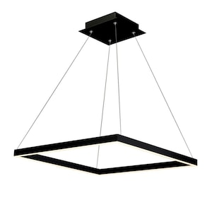 Vonn Lighting Atria Black Single Modern Contemporary Square Integrated Led Pendant Light At Lowes