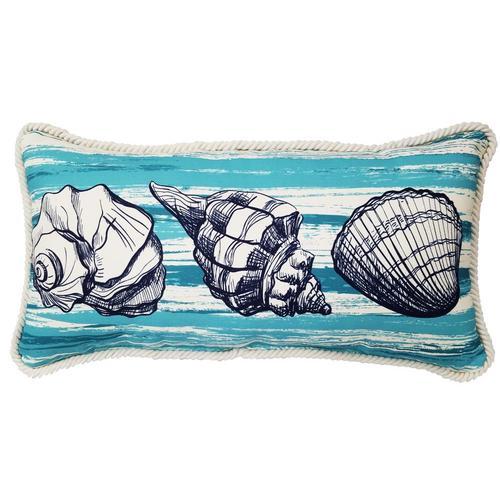 Allen Roth Graphic Print Aqua Rectangular Lumbar Pillow