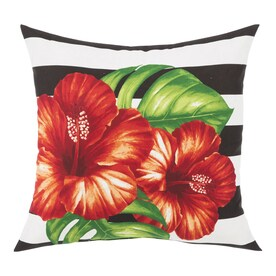 Garden Treasures Floral Black Square Throw Pillow