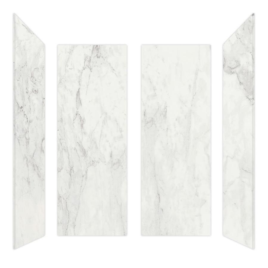 Curava Porcelain Carrara Shower Wall Surround Side and Back Wall Kit (Common: 32-in x 41-in; Actual: 60-in x 32-in x 30-in)