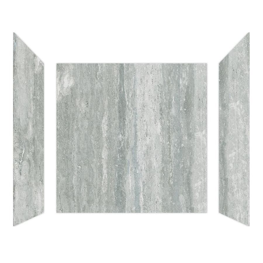 Curava Porcelain Travertine Shower Wall Surround Side And Back Wall Kit (Common: 60-in x 32-in; Actual: 61-in x 60-in x 31.5-in)