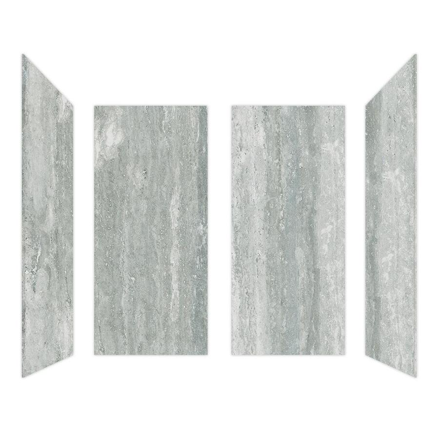 Shop Curava Porcelain Travertine Shower Wall Surround Side and Back ...