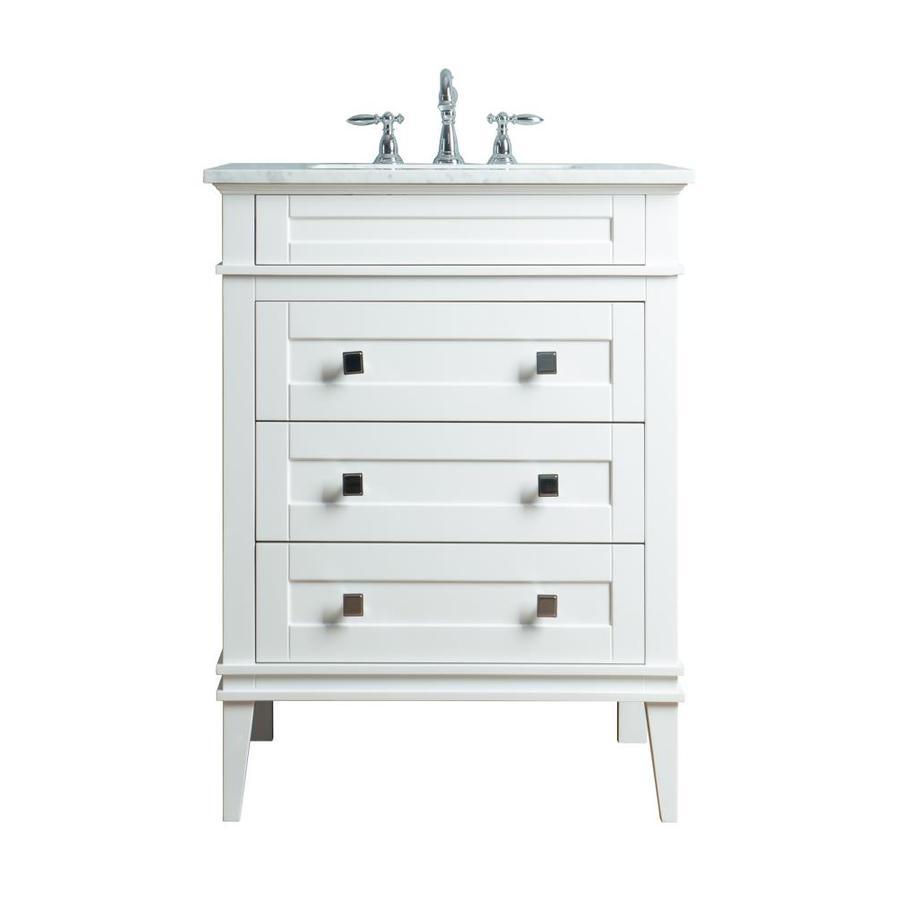 Stufurhome 30-in White Single Sink Bathroom Vanity with ...