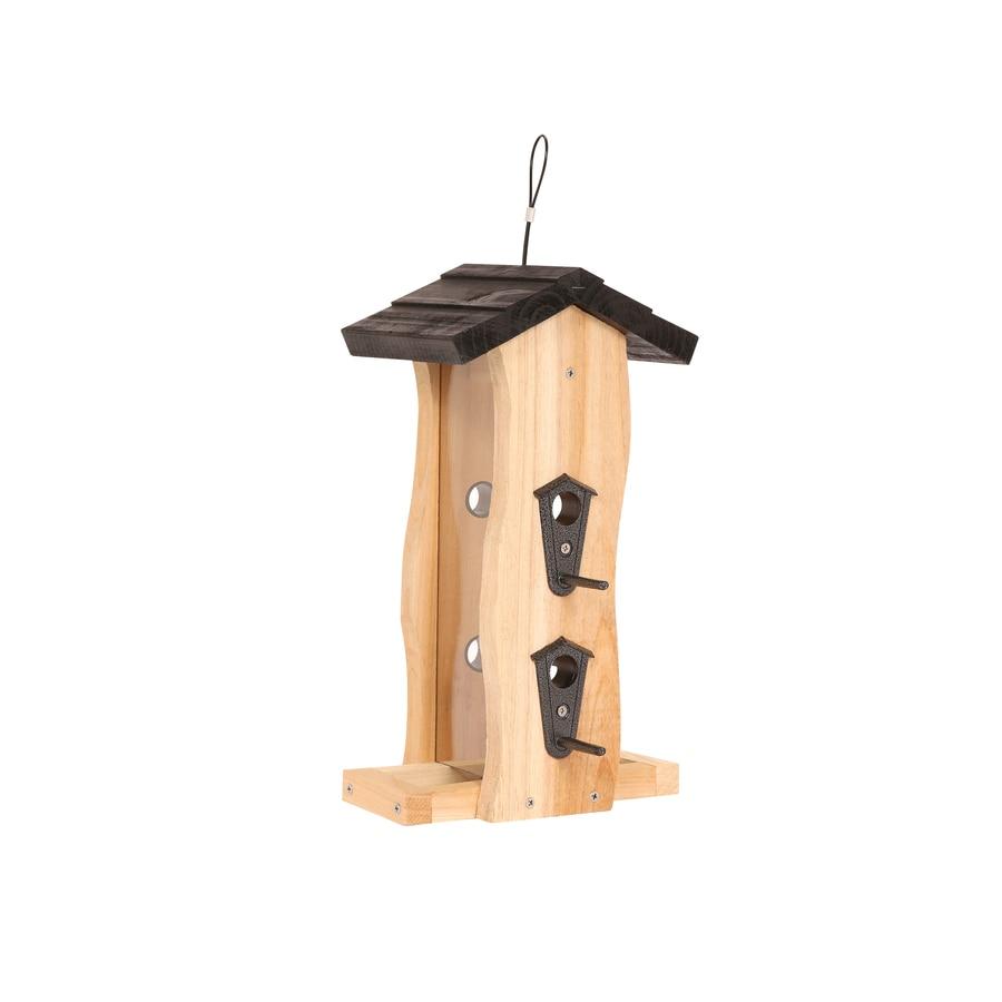 Exceptional Garden Treasures Natural Cedar Hopper Bird Feeder