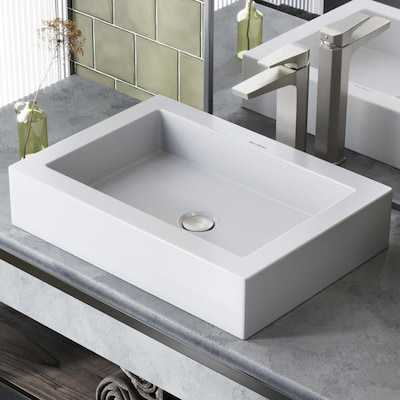 Voltaire Glossy White Porcelain Vessel Rectangular Bathroom Sink With Overflow Drain