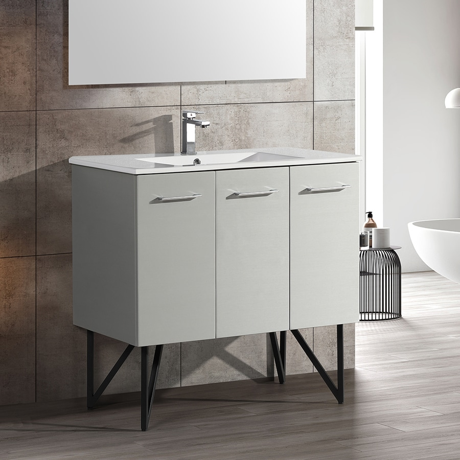 Swiss Madison Annecy 36 In Brushed Grey Single Sink Bathroom Vanity With Glossy White Ceramic Top In The Bathroom Vanities With Tops Department At Lowes Com