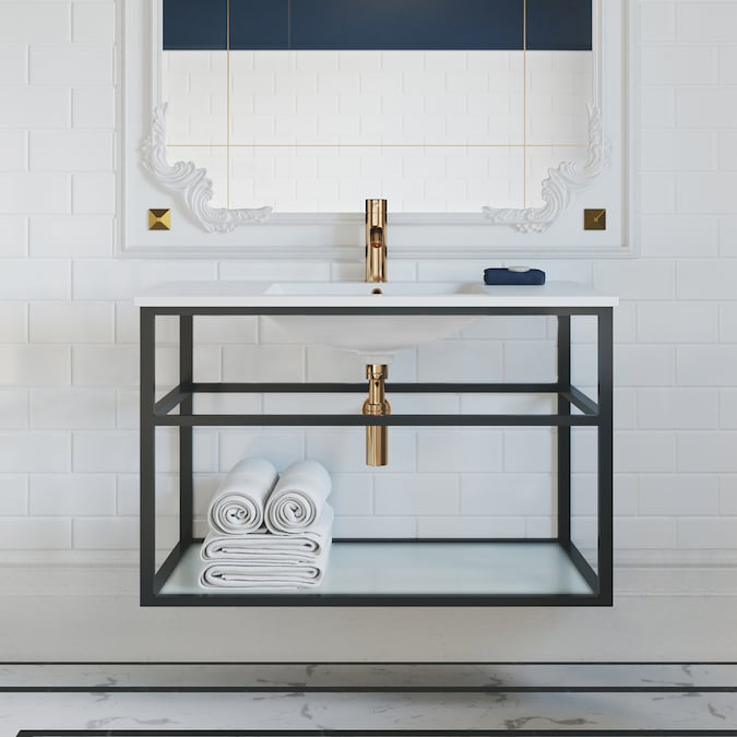 Swiss Madison Pierre 35 In Matte Black Single Sink Bathroom Vanity With Glossy White Ceramic Top In The Bathroom Vanities With Tops Department At Lowes Com