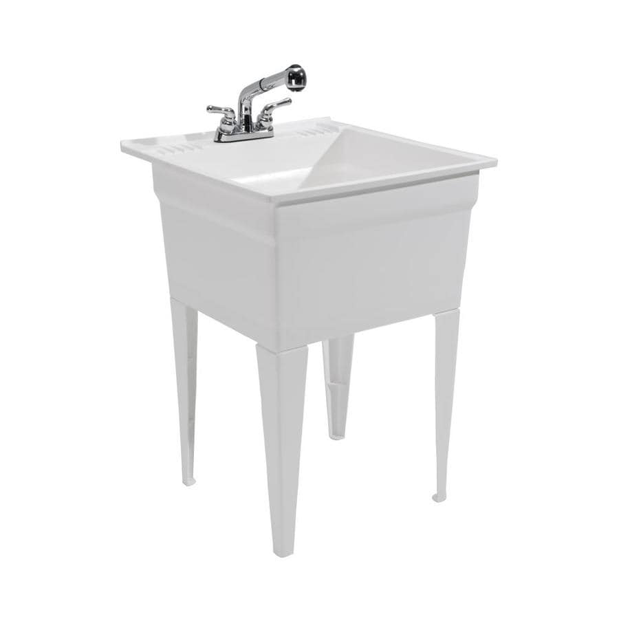 Cashel 23 75 X 24 White Freestanding Polypropylene Laundry Sink Utility With Drain And Faucet