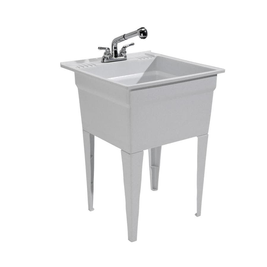 CASHEL 23.75 X 24.75 Granite Freestanding Polypropylene Laundry Sink  Utility Sink With Drain With/and