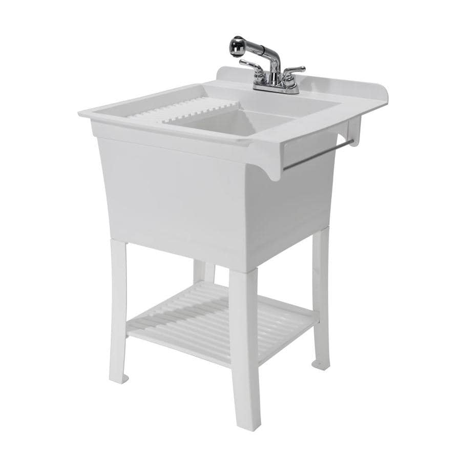 CASHEL 25.375 X 25.75 White Freestanding Polypropylene Laundry Sink Utility  Sink With Drain With/and