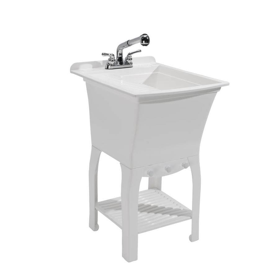 Cashel 20 5 X 25 75 White Freestanding Polypropylene Laundry Sink Utility With Drain And Faucet