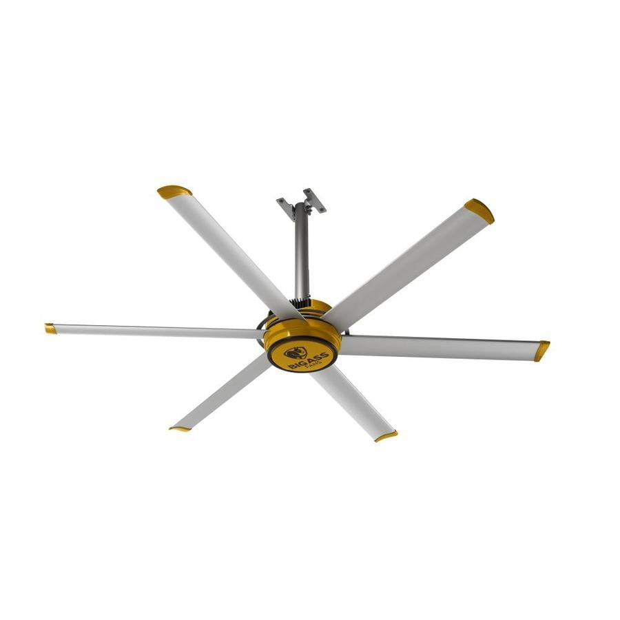 Ass Fans 84 In Silver And Yellow Downrod Mount Indoor Commercial Ceiling Fan