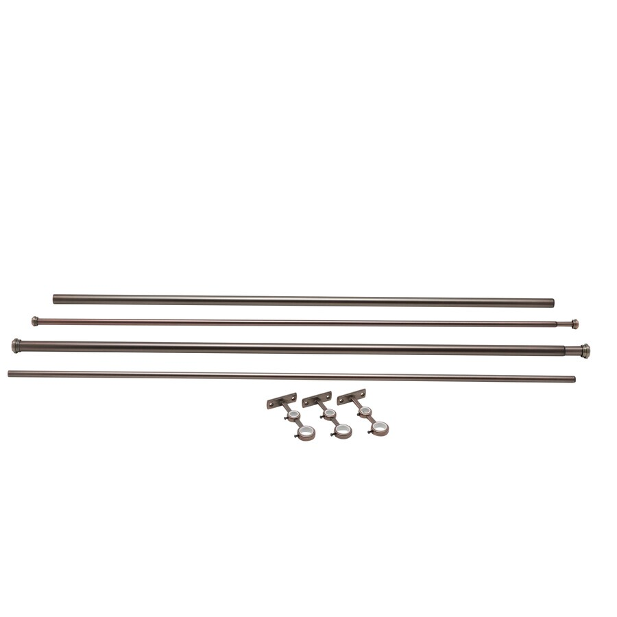 allen + roth 72-in to 144-in Oil-Rubbed Bronze Steel Double Curtain Rod