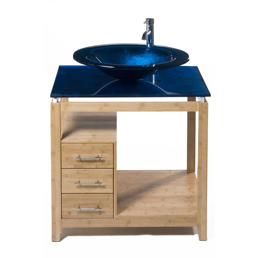 Bionic Cappuccino 31 In X 22 In Light Bamboo Single Sink Bathroom Vanity  With