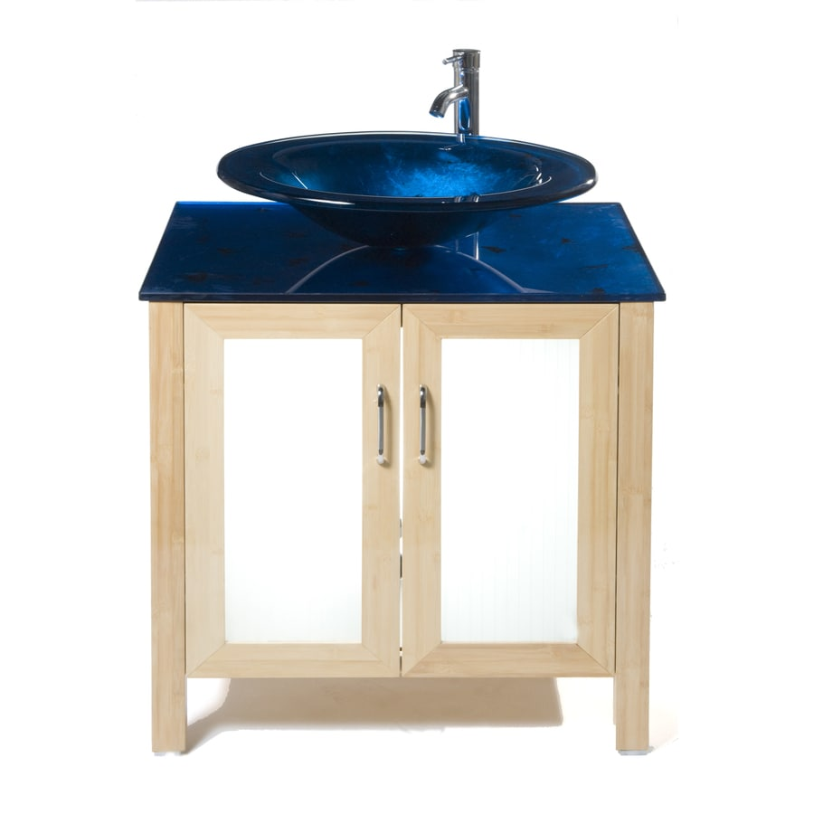 Bionic Waterhouse 31-in x 22-in Light Bamboo Single Sink Bathroom Vanity with Tempered Glass Top (Faucet Included)