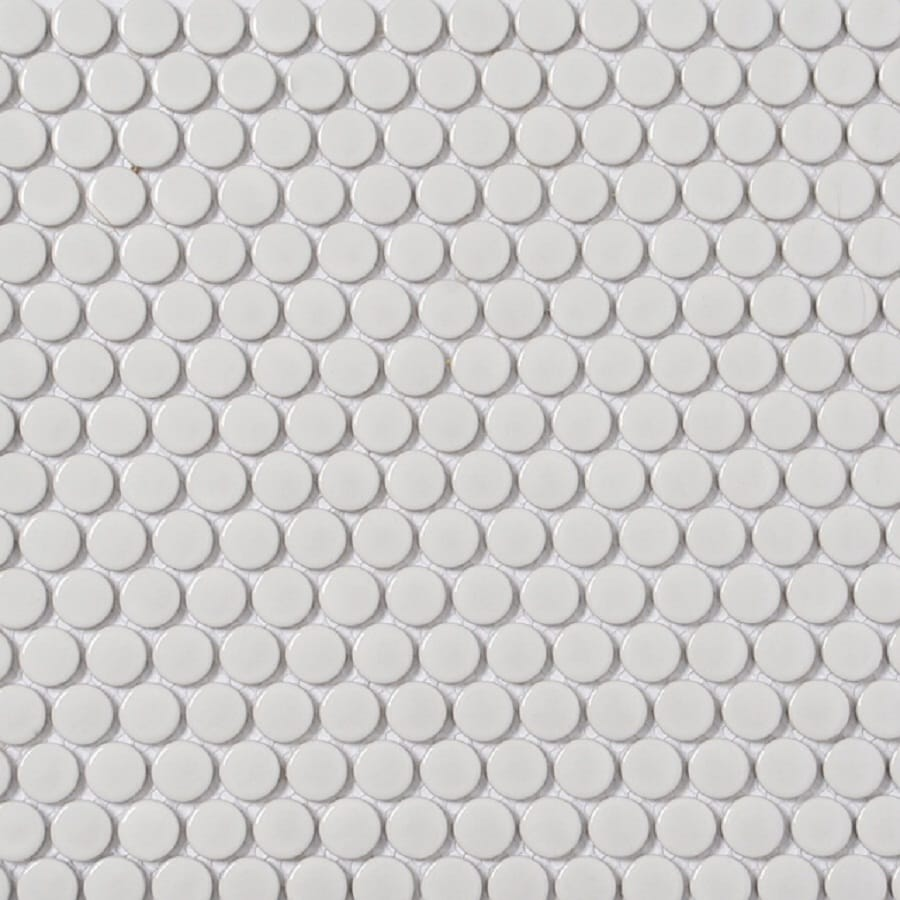Style Selections White Penny Round Mosaic Porcelain Wall Tile (Common:  11-in x