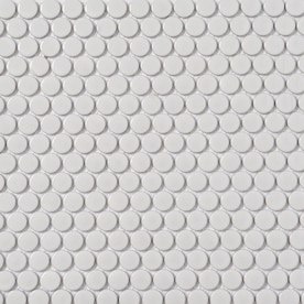 Style Selections White 11-in x 13-in Porcelain Penny Round Mosaic Wall Tile (Common: 11-in x 13-in; Actual: 12.75-in x 11.5-in)