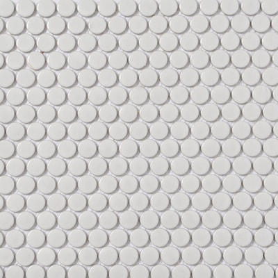 White 11 In X 13 Porcelain Penny Round Mosaic Wall Tile Common Actual 12 75 5
