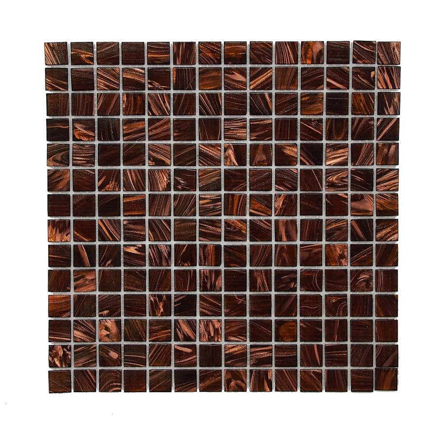Venato Amber Uniform Squares Mosaic Glass Wall Tile (Common: 12-in x 12-in; Actual: 12-in x 12-in)