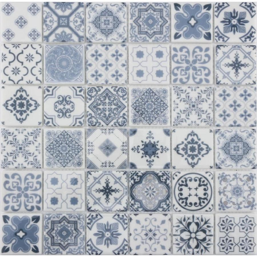 Shop Blue Glass Uniform Squares Mosaic Wall Tile (Common: 12-in x 12 ...