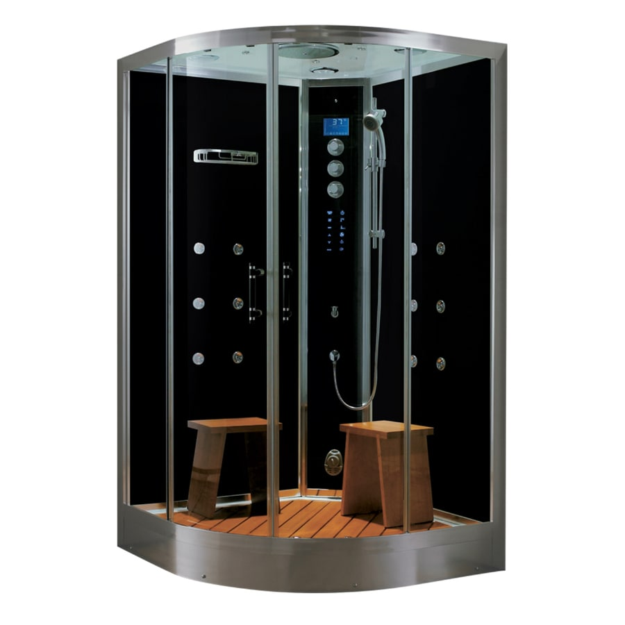Northeastern Bath Black Tempered Glass Wall Acrylic Floor Round Steam 10-Piece Corner Shower Kit (Actual: 41-in x 88-in x 48-in)