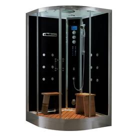 Corner shower stalls lowes Stand Up Northeastern Bath Black Tempered Glass Wall Acrylic Floor Round Steam 10piece Corner Shower Kit Lowes Shower Stalls Enclosures At Lowescom