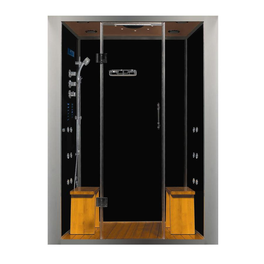 Northeastern Bath Royal Care Black Tempered Glass Wall Floor with Steam 10-Piece Alcove Shower Kit (Common: 32-in x 59-in; Actual: 84.5-in X