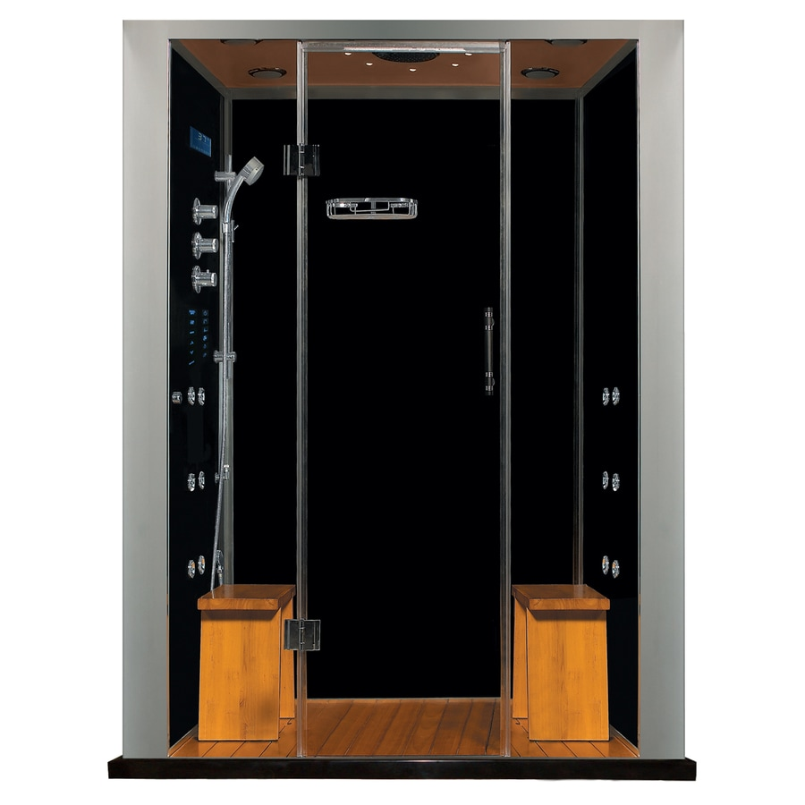 Northeastern Bath Royal Care Black Tempered Glass Wall Stone Composite Floor with Steam 10-Piece Alcove Shower Kit (Common: 33-in x 61-in; Actual: 86-in X