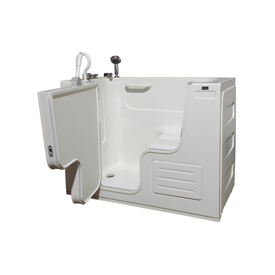 Shop Northeastern Bath 51 In White Acrylic Walk In Bathtub With Left Hand Dra