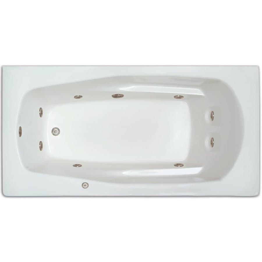Home and Garden Home 66-in White Acrylic Drop-In Whirlpool Tub with Left-Hand Drain