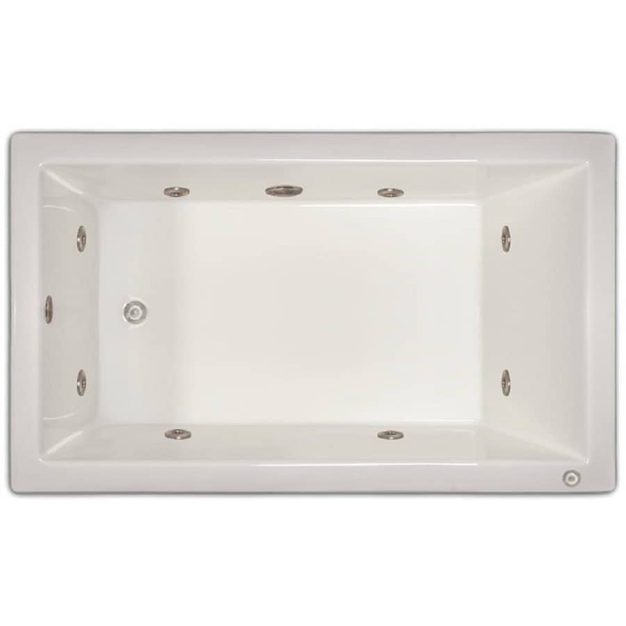 Home and Garden Home 60-in White Acrylic Drop-In Whirlpool Tub with Left-Hand Drain